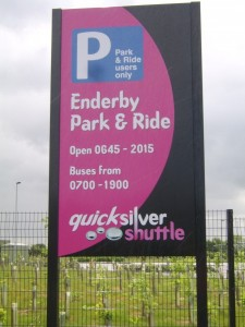 Enderby Park&Ride Post Fixed Sign